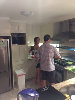 Diane and Paul making dinner at their wonderful flat on Super Bowl Monday.