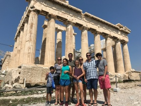 Harper and Jenkins families on top of the Acropolis in Athens, Greece