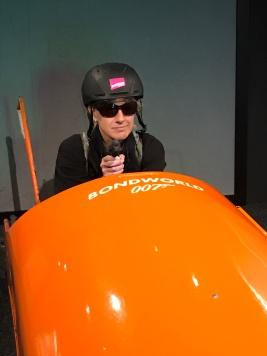 Anne Jenkins in bobsledding in a Bond movie